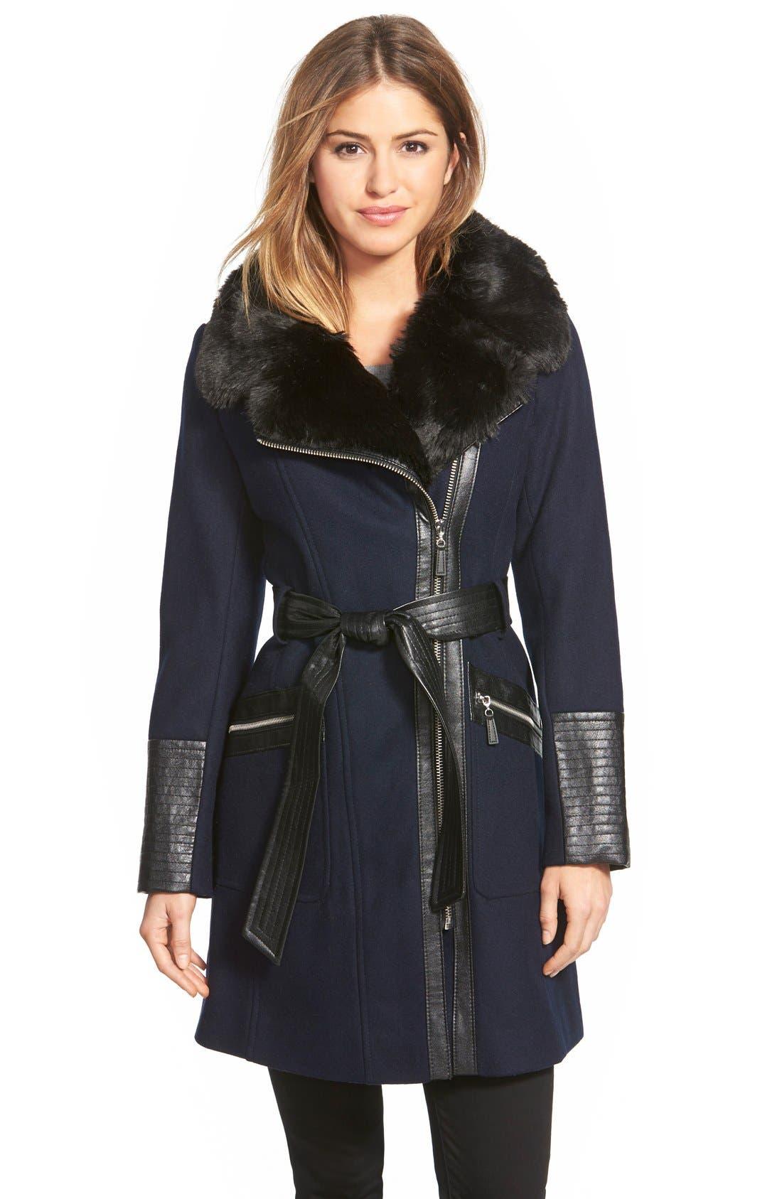 Main Image - Via Spiga Faux Leather & Faux Fur Trim Belted Wool Blend Coat