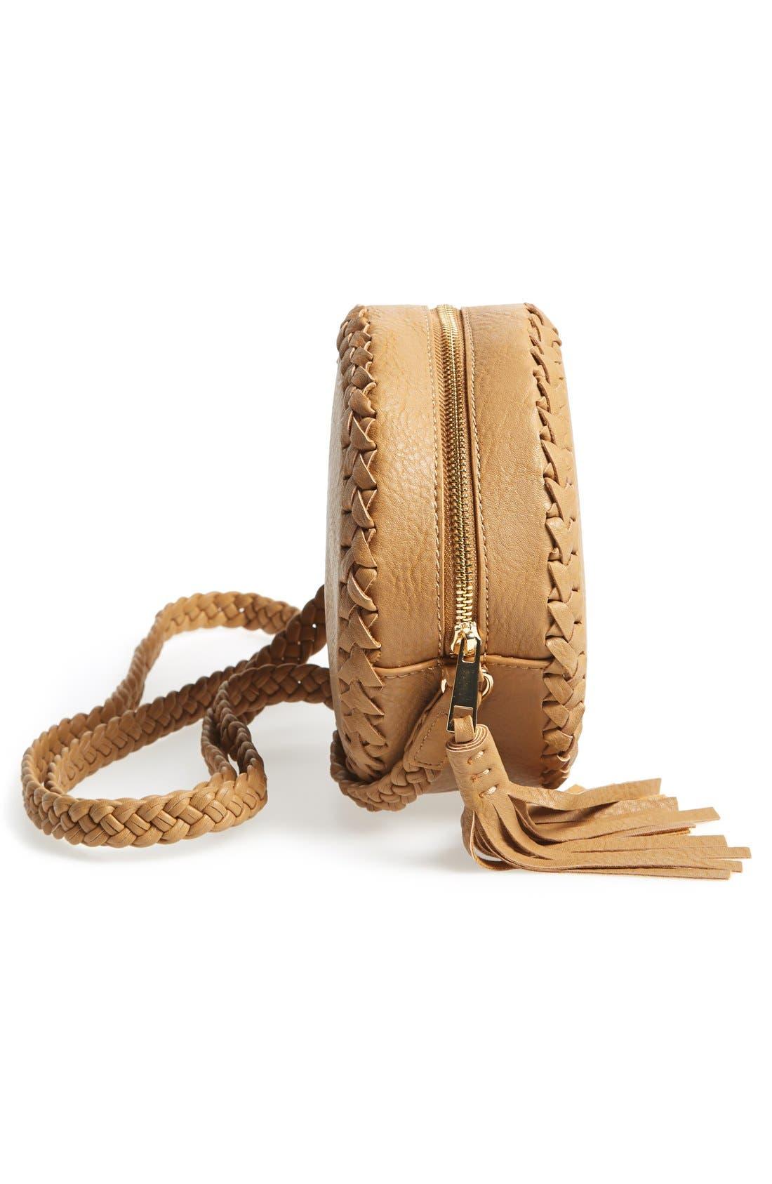 Alternate Image 5  - Big Buddha Faux Leather Round Crossbody Bag