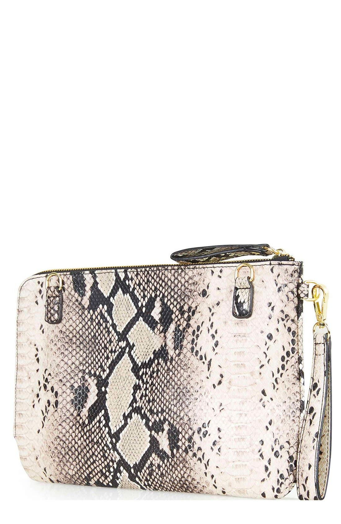 Alternate Image 3  - Topshop Snake Print Faux Leather Clutch