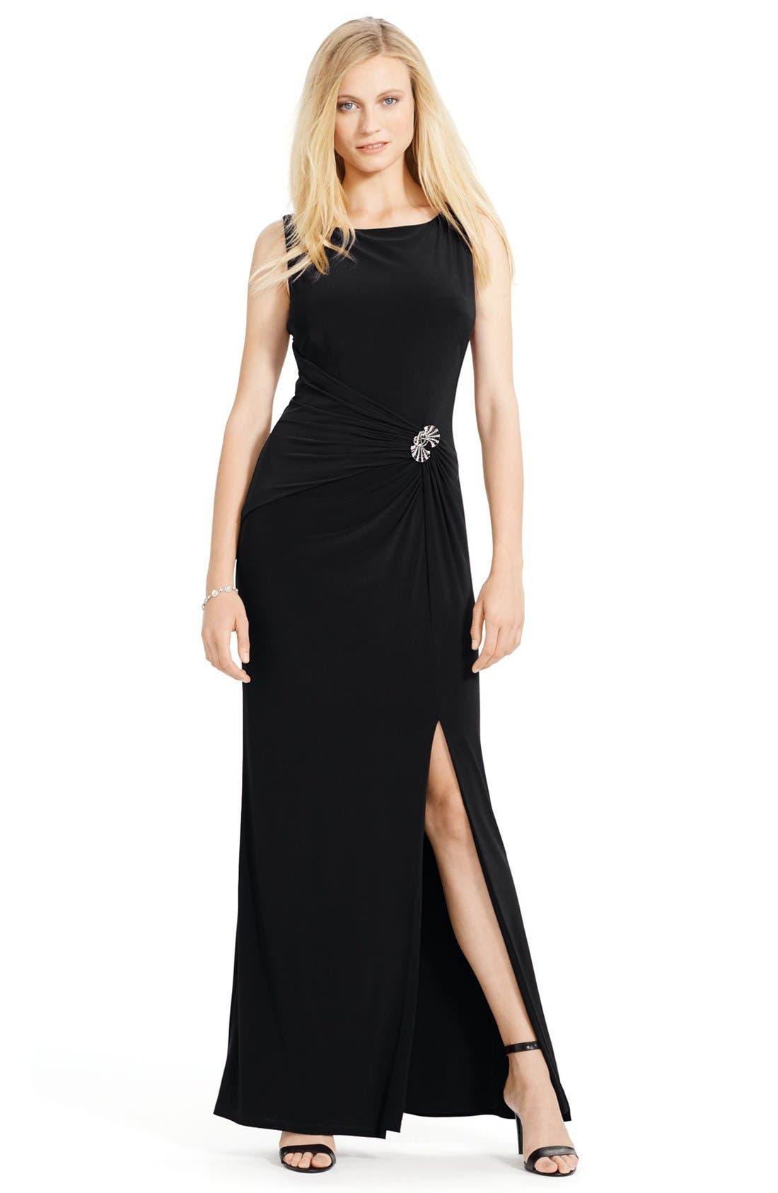 Main Image - Lauren Ralph Lauren Ruched Jersey Gown (Regular & Petite)