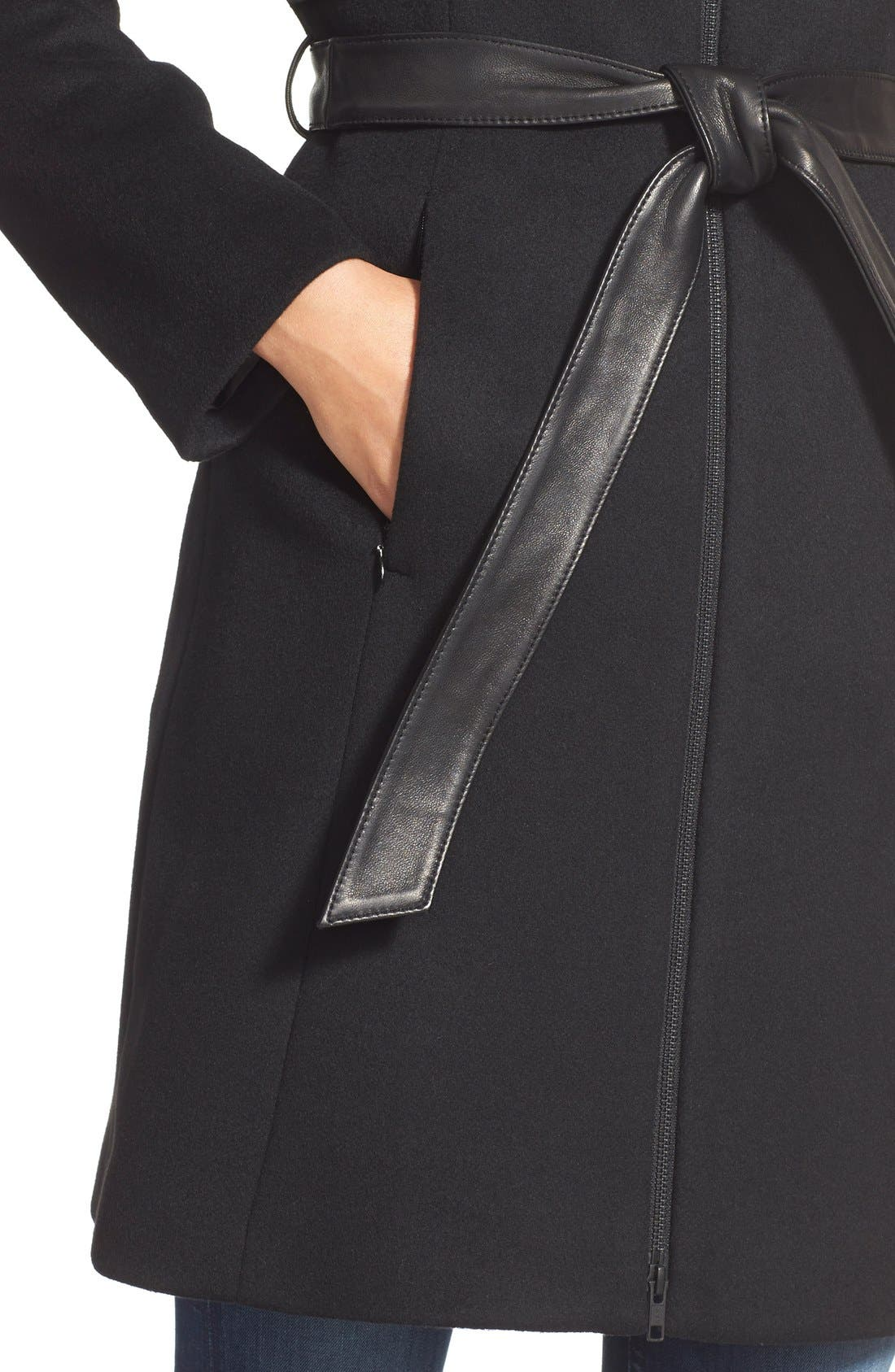 Alternate Image 5  - Soia & Kyo 'Arya' Hooded Wool Blend Coat with Belt