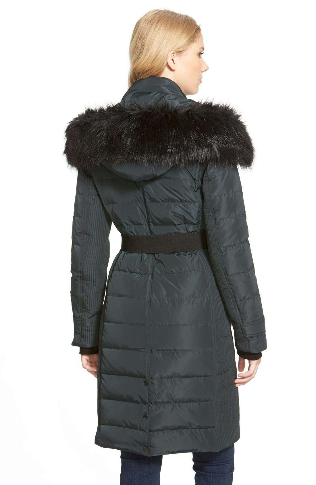 Alternate Image 2  - French Connection Asymmetrical Down Coat with Faux Fur Trim