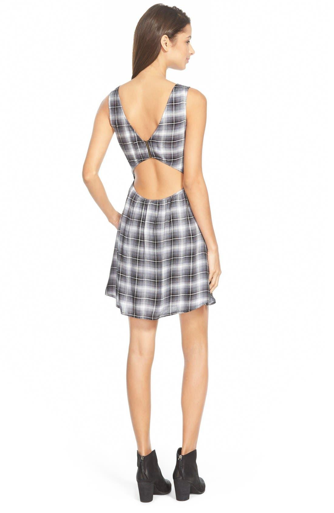 Alternate Image 2  - Mimi Chica Open Back Plaid Skater Dress (Juniors)