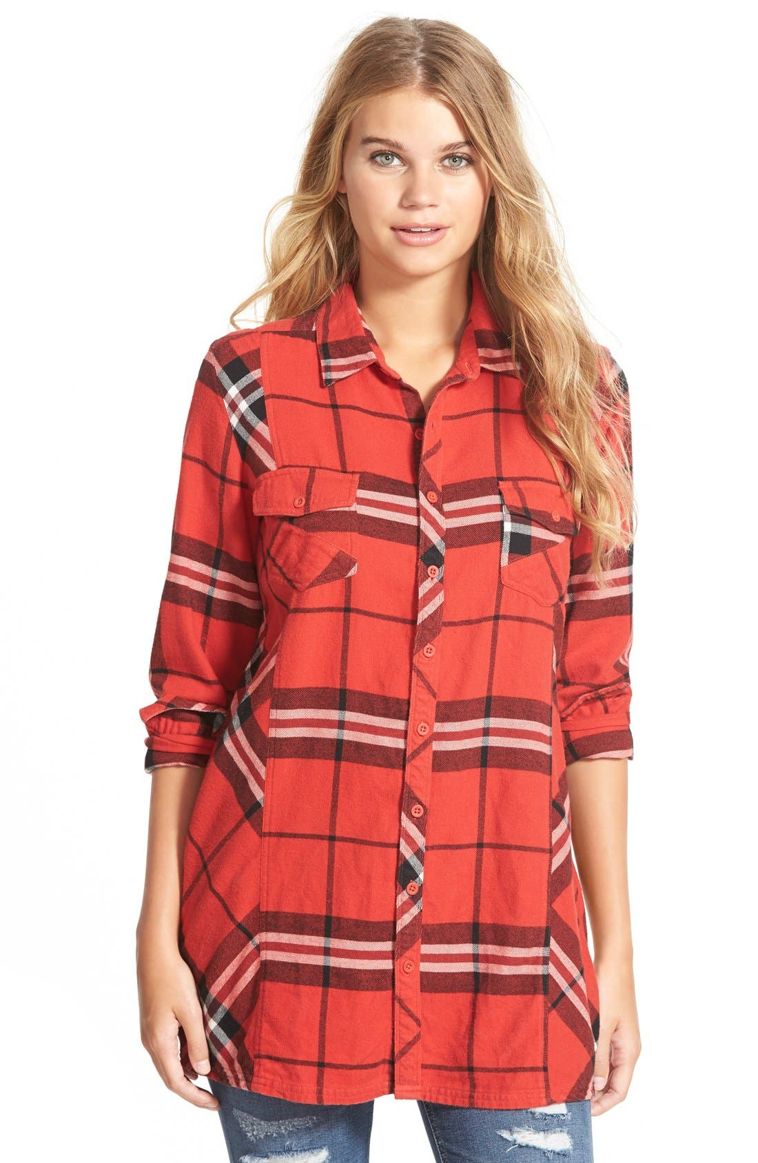 Main Image - Volcom 'Love Me Not' Plaid Button Front Tunic