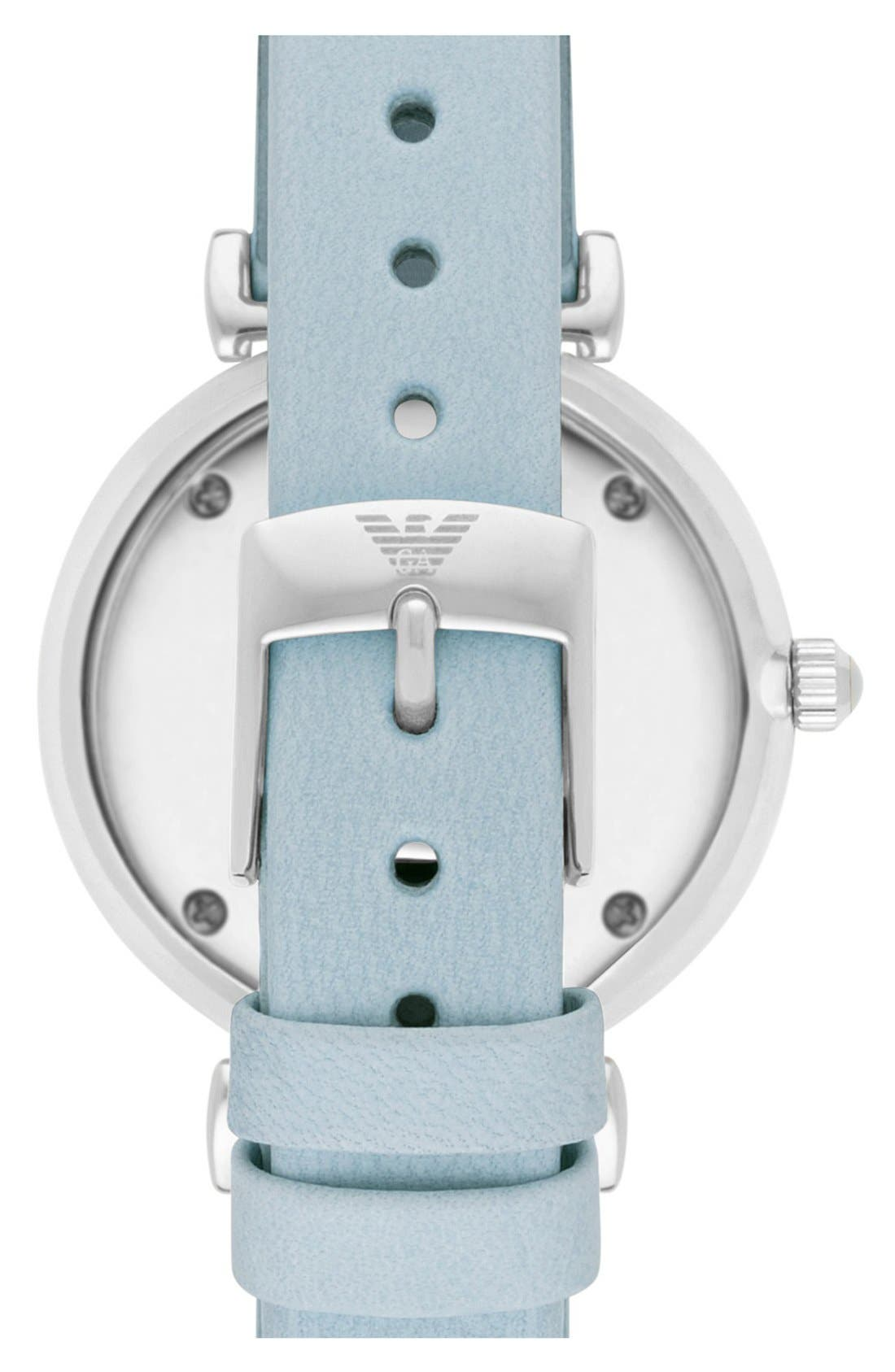 Alternate Image 2  - Emporio Armani 'Retro' Leather Strap Watch, 32mm