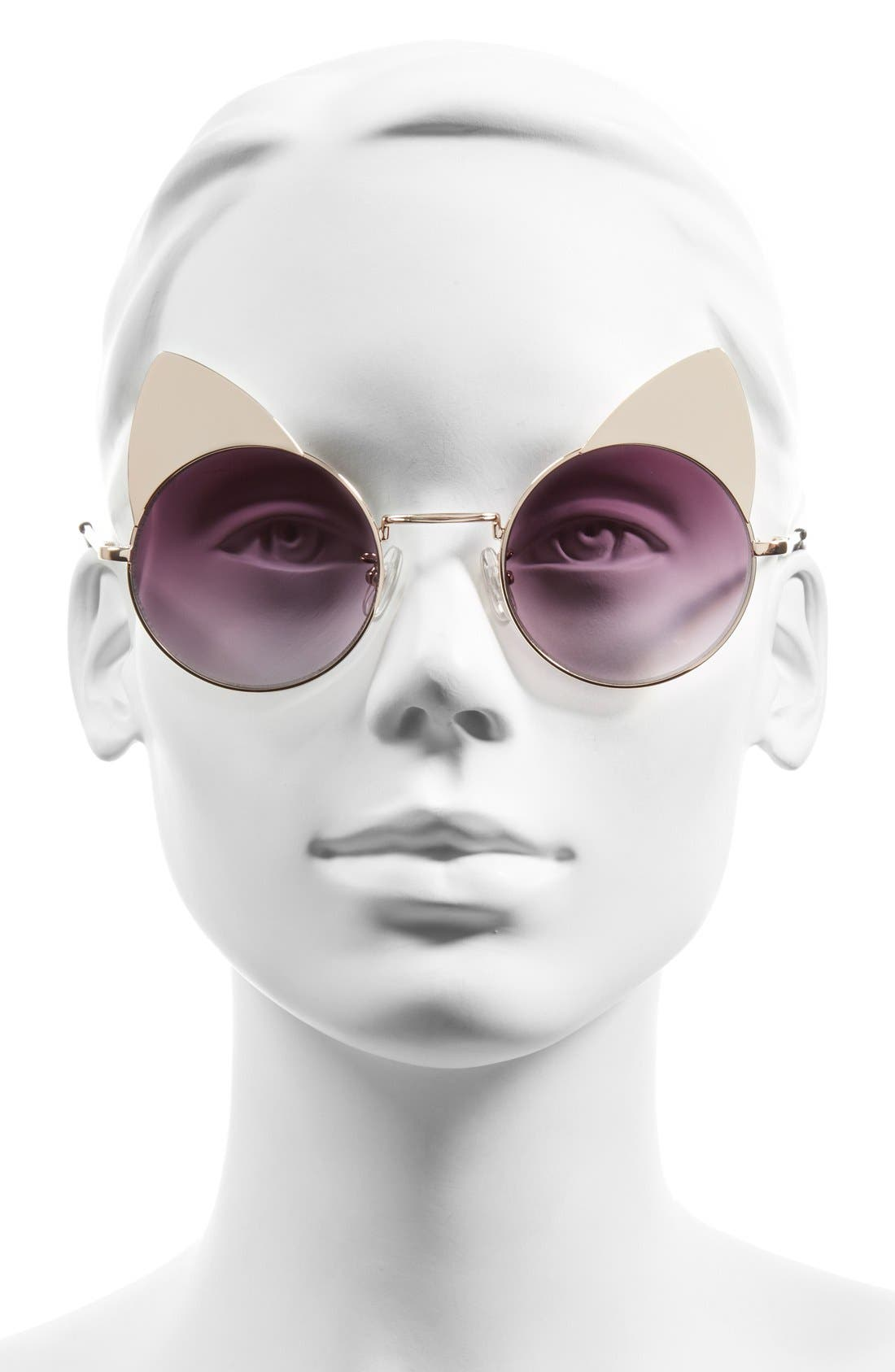 Alternate Image 2  - Sunscape 'Meowcifer' 50mm Metal Sunglasses