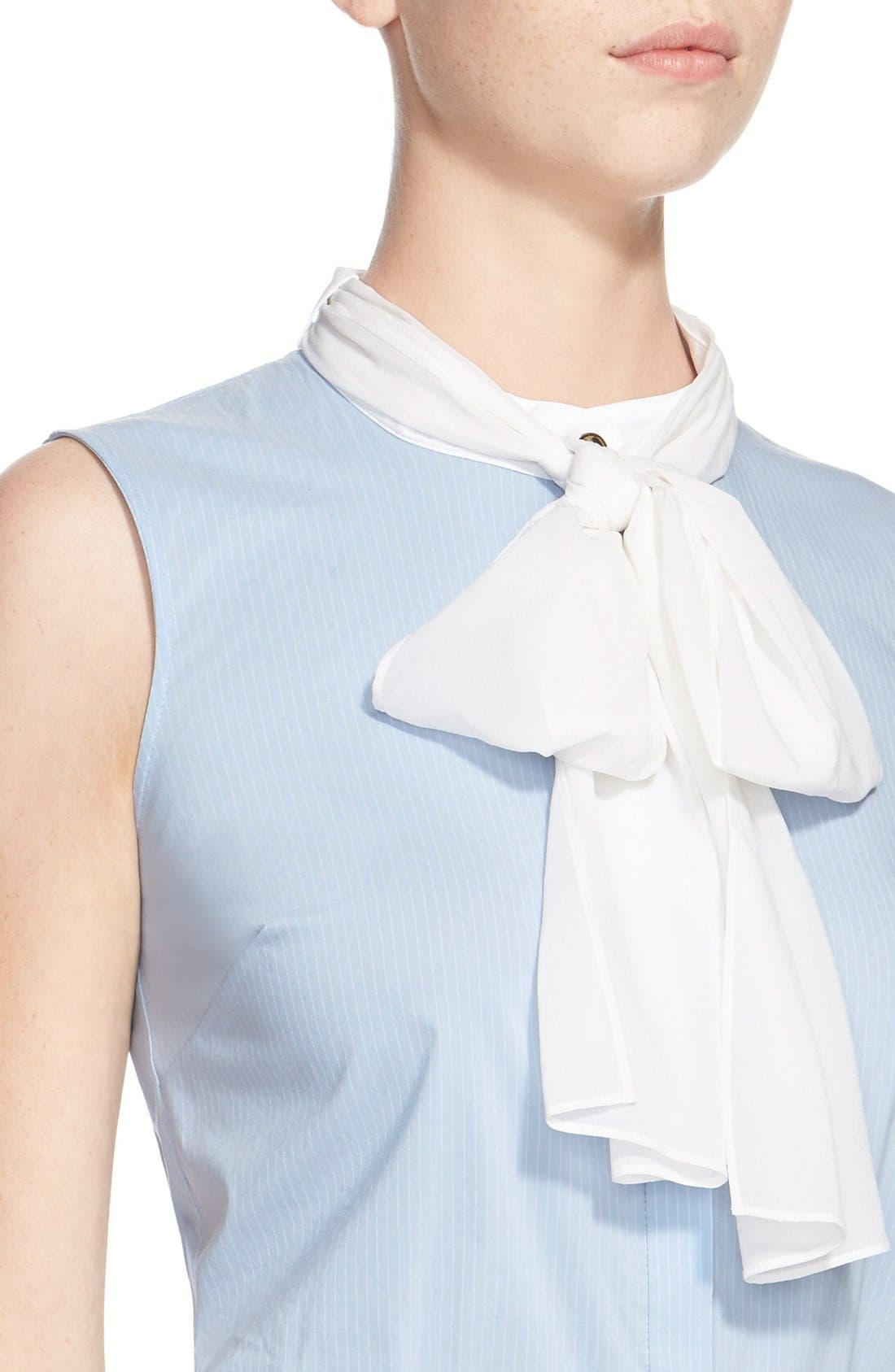 Alternate Image 6  - St. John Collection Pinstripe Blouse with Detachable Silk Georgette Scarf