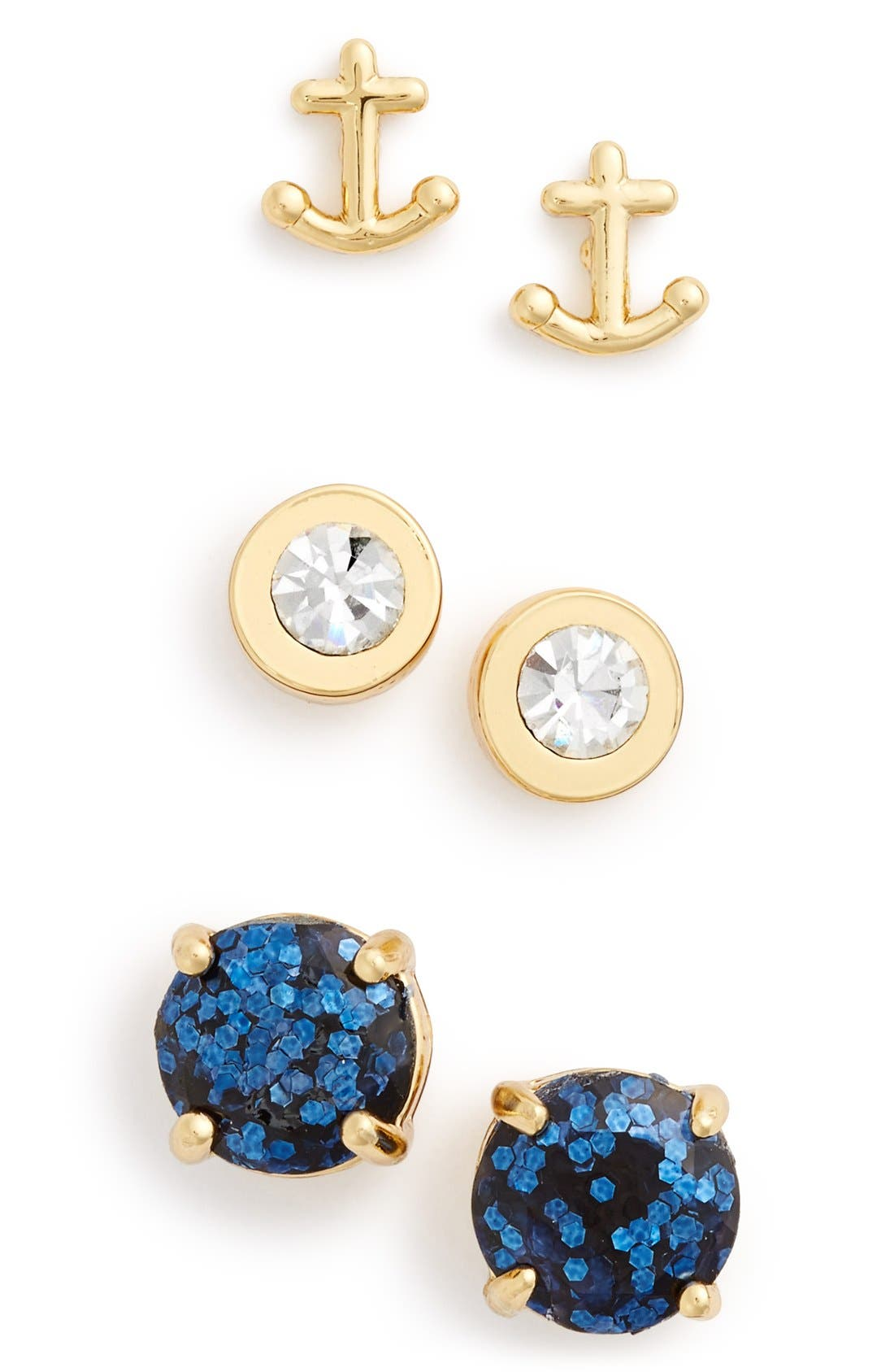 Alternate Image 1 Selected - kate spade new york 'navy glitter' anchor & round stud earrings (Set of 3)