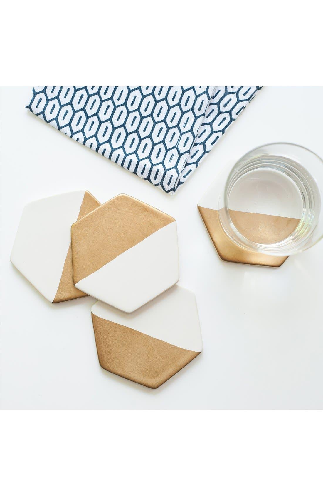 Alternate Image 3  - zestt 'Hampton' Gilded Ceramic Coasters (Set of 4)