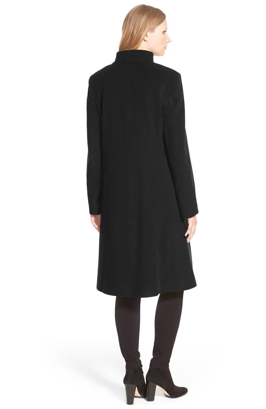 Alternate Image 2  - Cinzia Rocca DUE Funnel Collar Wool Blend Long Coat (Regular & Petite)