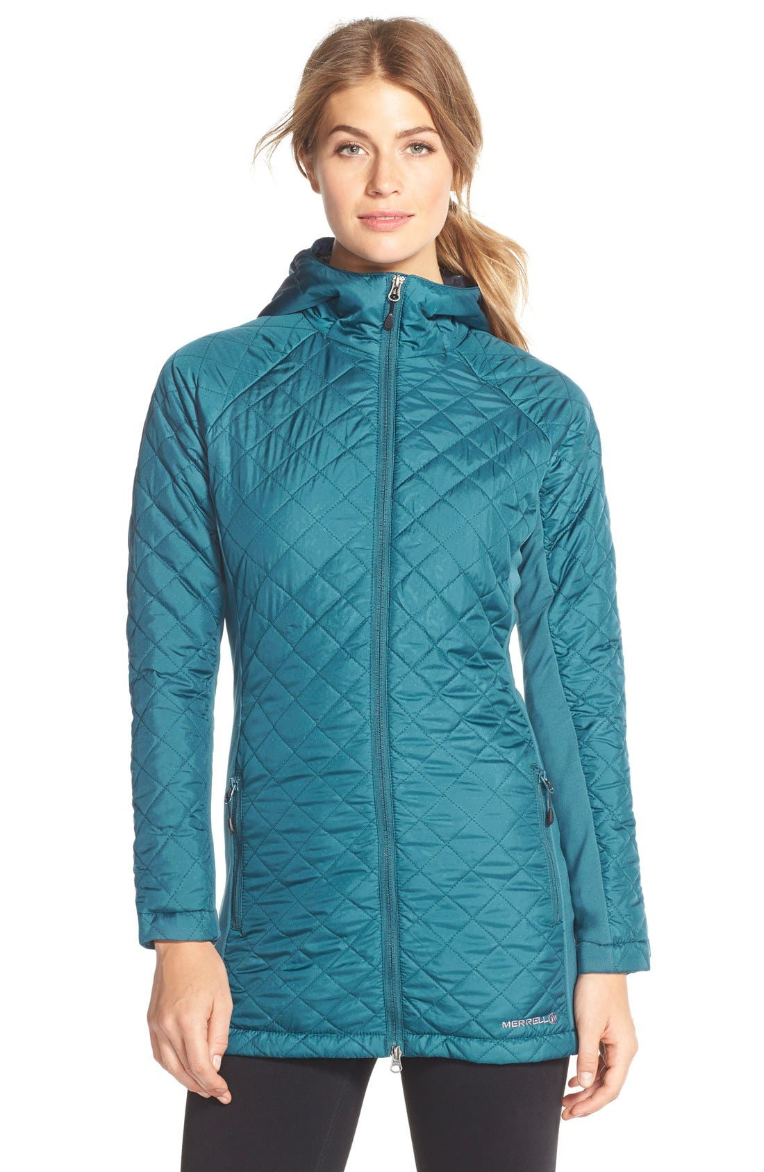 Alternate Image 1 Selected - Merrell 'Soleil Mixer' Hooded Quilted Long Coat