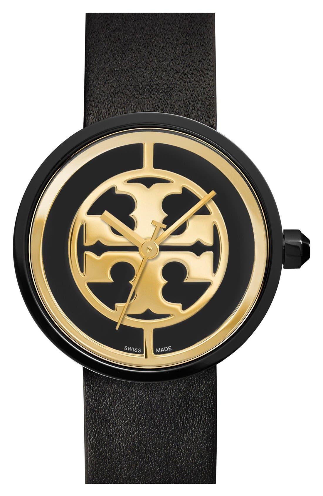 Tory Burch 'Reva' Logo Dial LeatherStrap Watch, 36mm