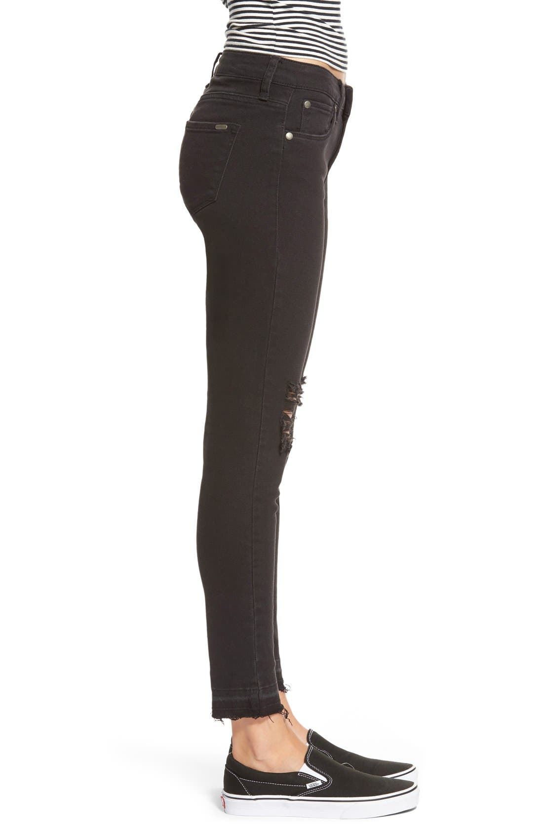 Alternate Image 4  - STSBlue 'Emma' Distressed High Rise Ankle Skinny Jeans (Black)