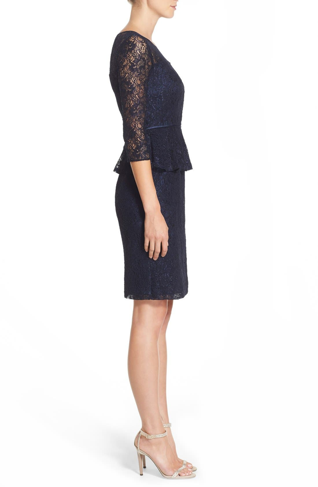 Alternate Image 3  - Adrianna Papell Peplum Lace Sheath Dress (Nordstrom Exclusive)