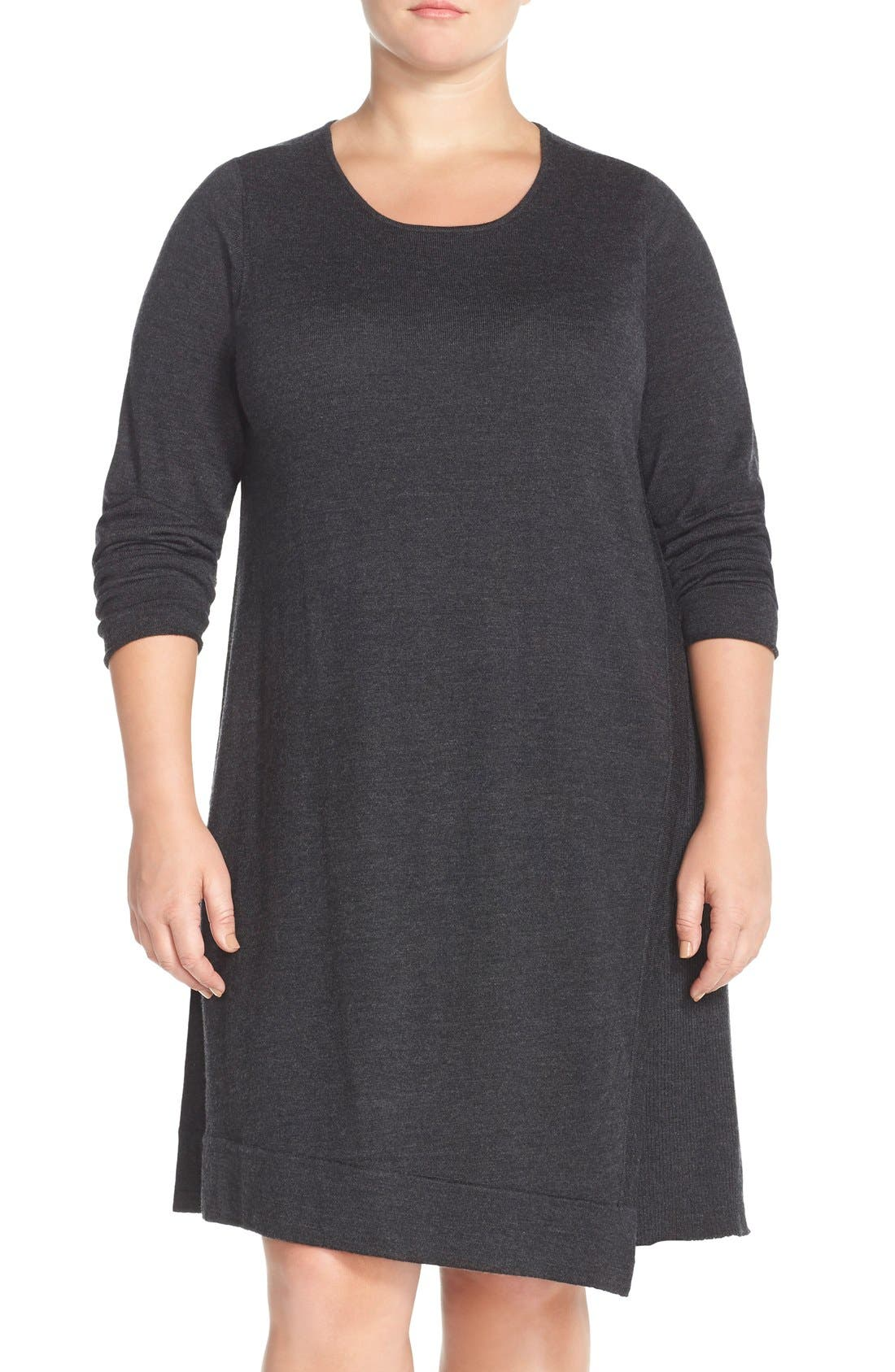 Main Image - Eileen Fisher Merino Jersey Jewel Neck Dress (Plus Size)