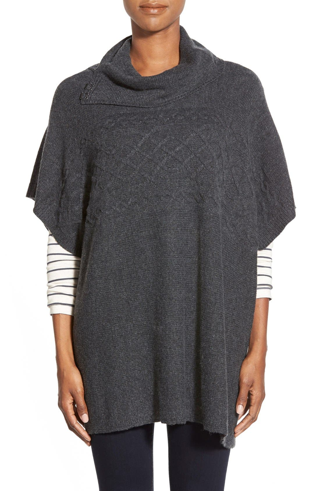 Main Image - NYDJ Cable Cowl Neck Poncho (Regular & Petite)