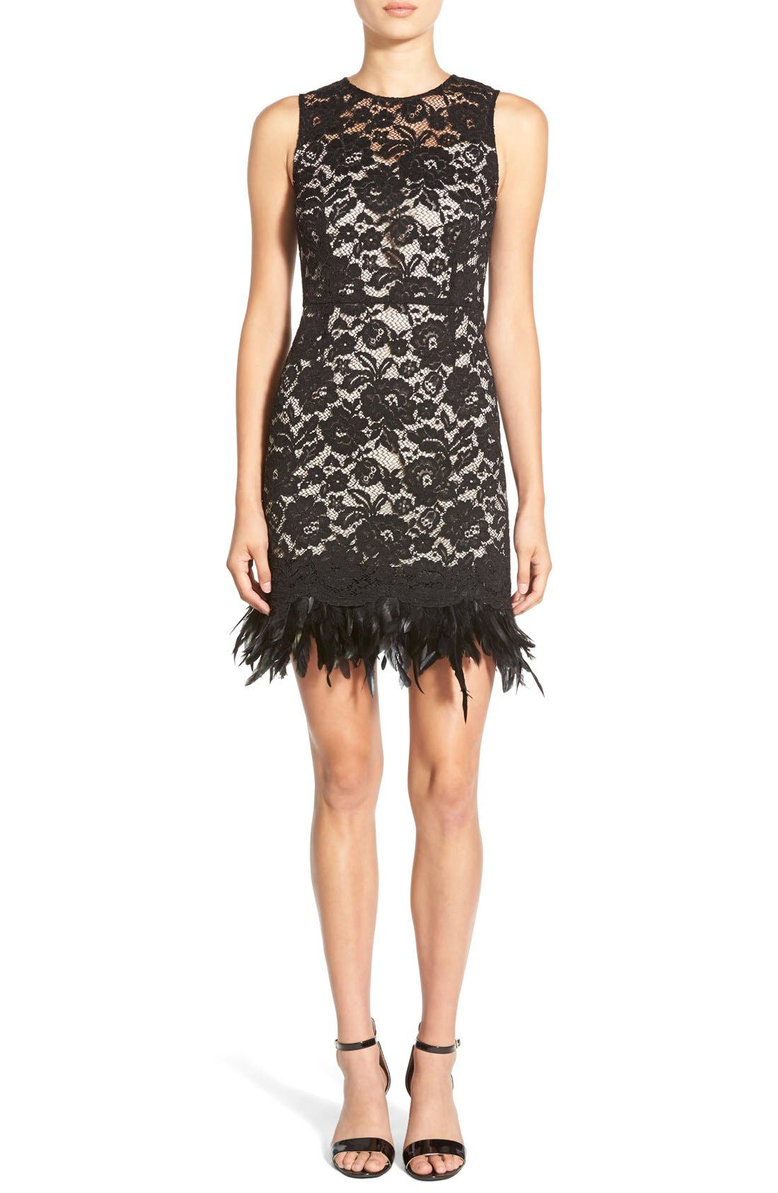 Main Image - Soloiste Feather Hem Lace Body-Con Dress