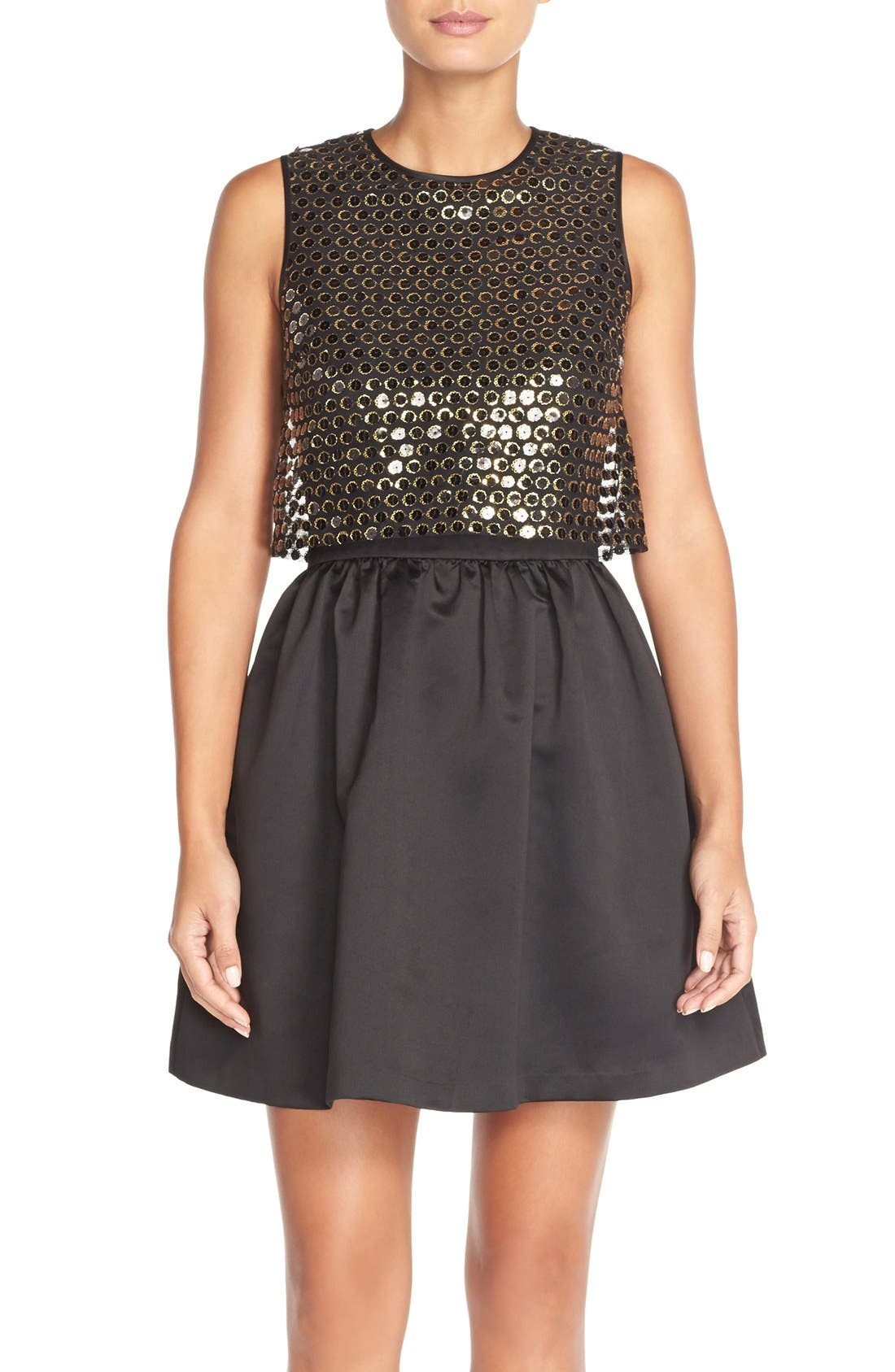 Main Image - CeCe by Cynthia Steffe 'Sandy' Sequin Popover Dress