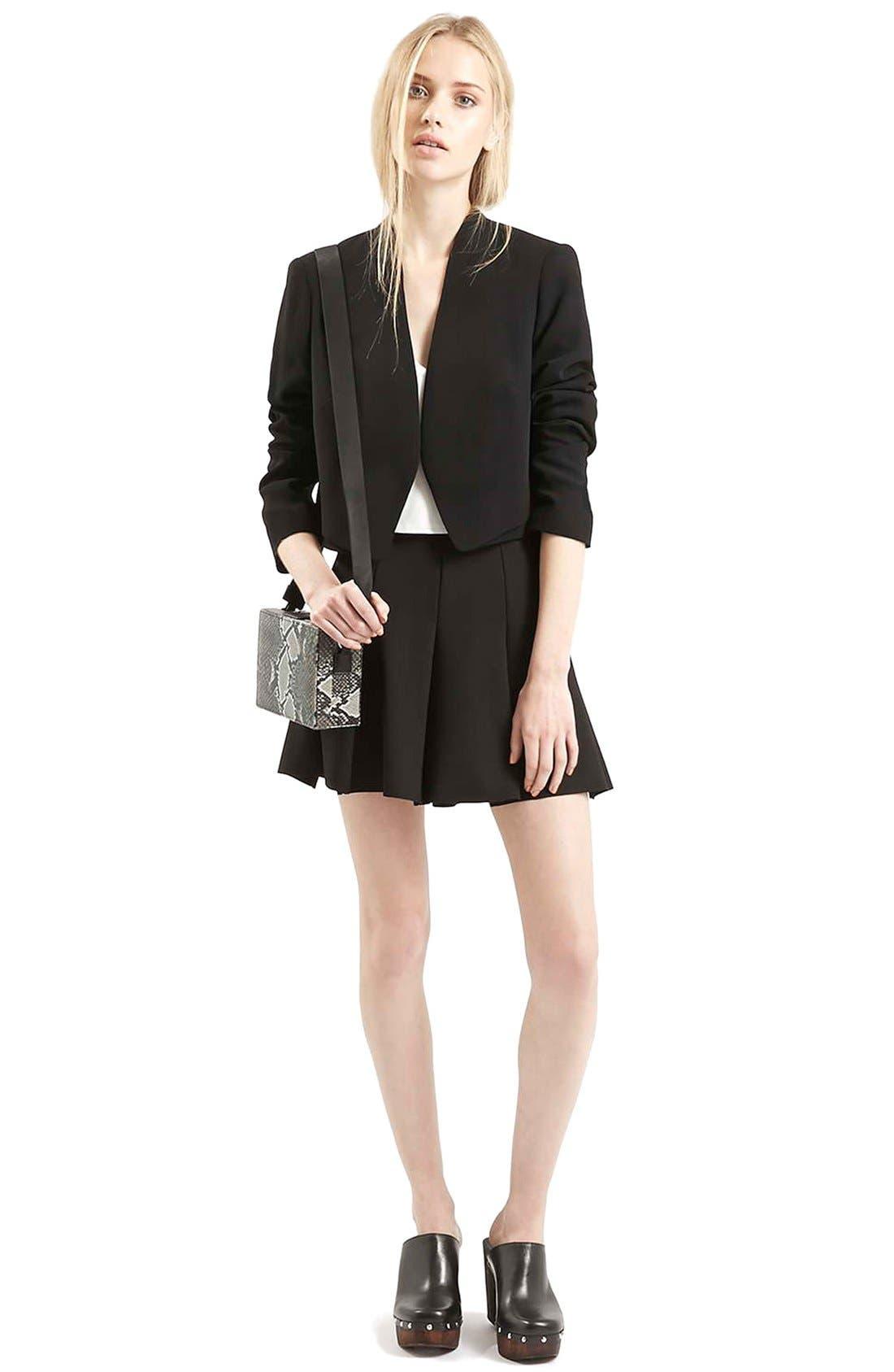 Alternate Image 2  - Topshop Flippy Pleated Miniskirt (Petite)