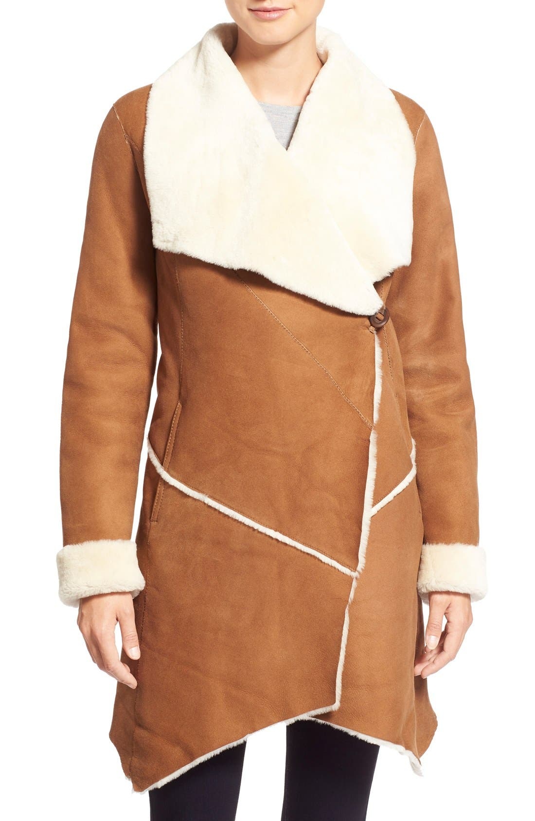 Main Image - HiSO Asymmetrical Raw Edge Genuine Shearling Coat