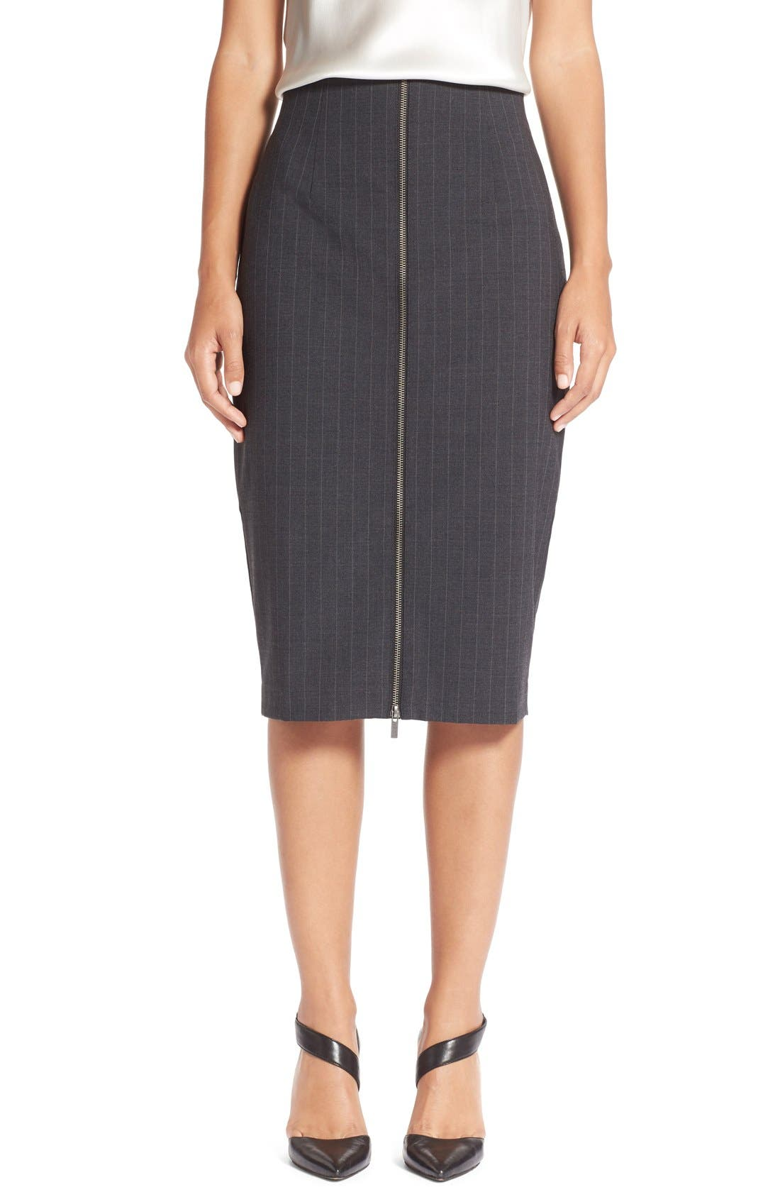 Main Image - Halogen® Zip Front Pinstripe Pencil Skirt (Regular & Petite)
