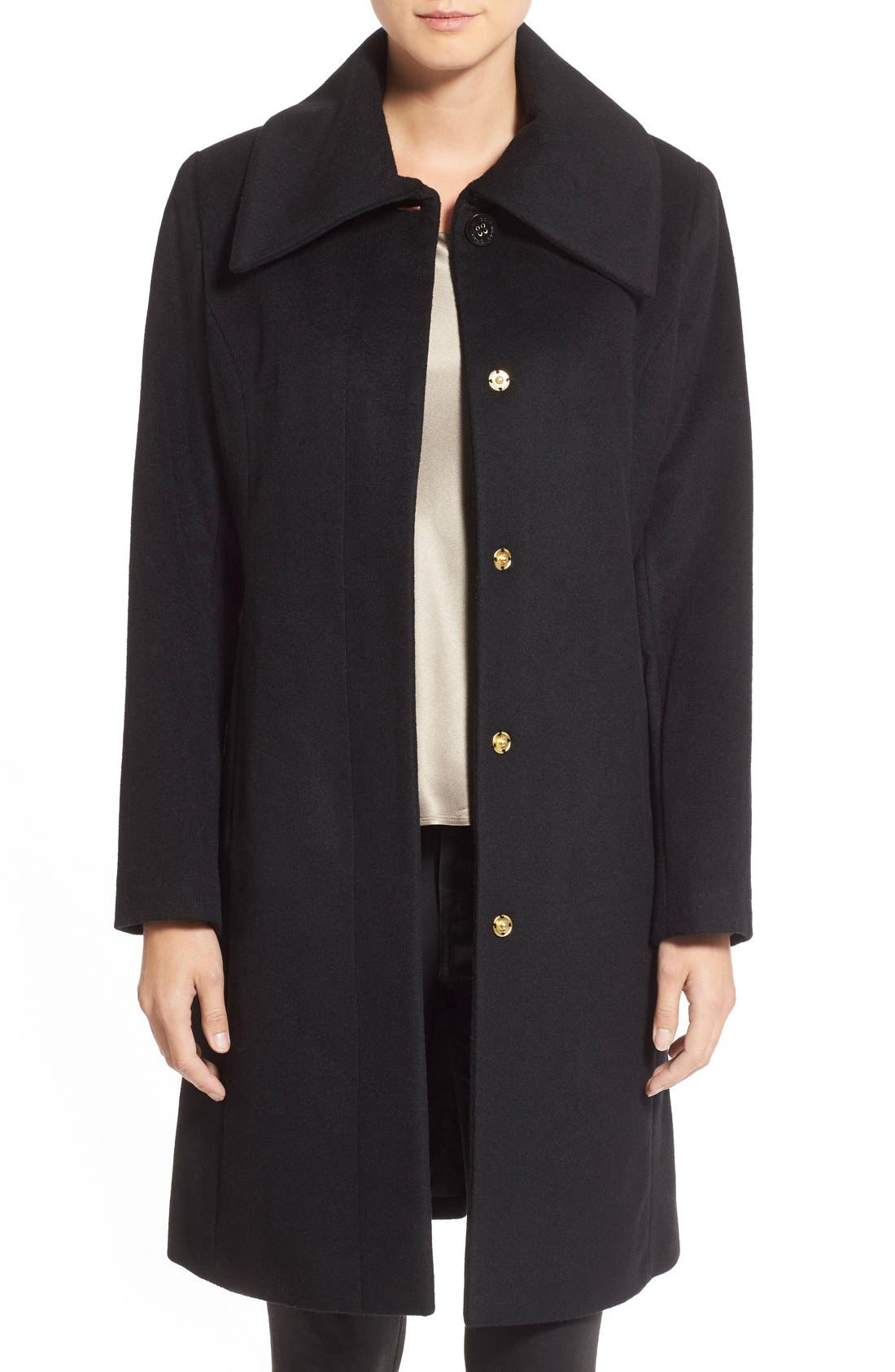 COLE HAAN SIGNATURE Single Breasted Wool Blend Coat