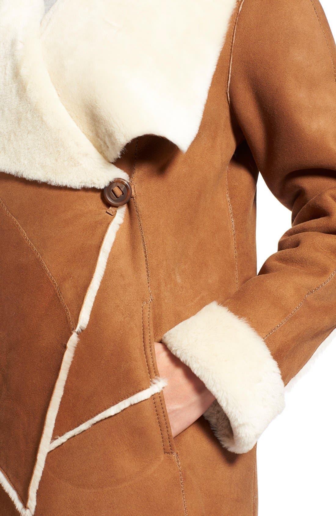Alternate Image 4  - HiSO Asymmetrical Raw Edge Genuine Shearling Coat