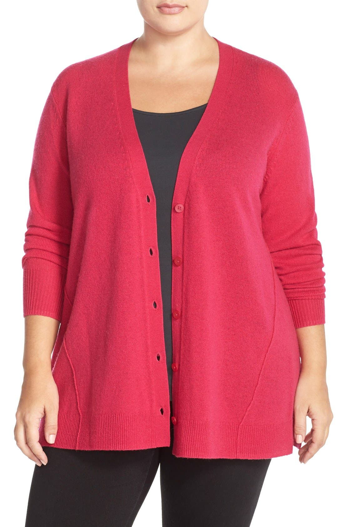 Main Image - Sejour Wool & Cashmere Trapeze Cardigan (Plus Size)