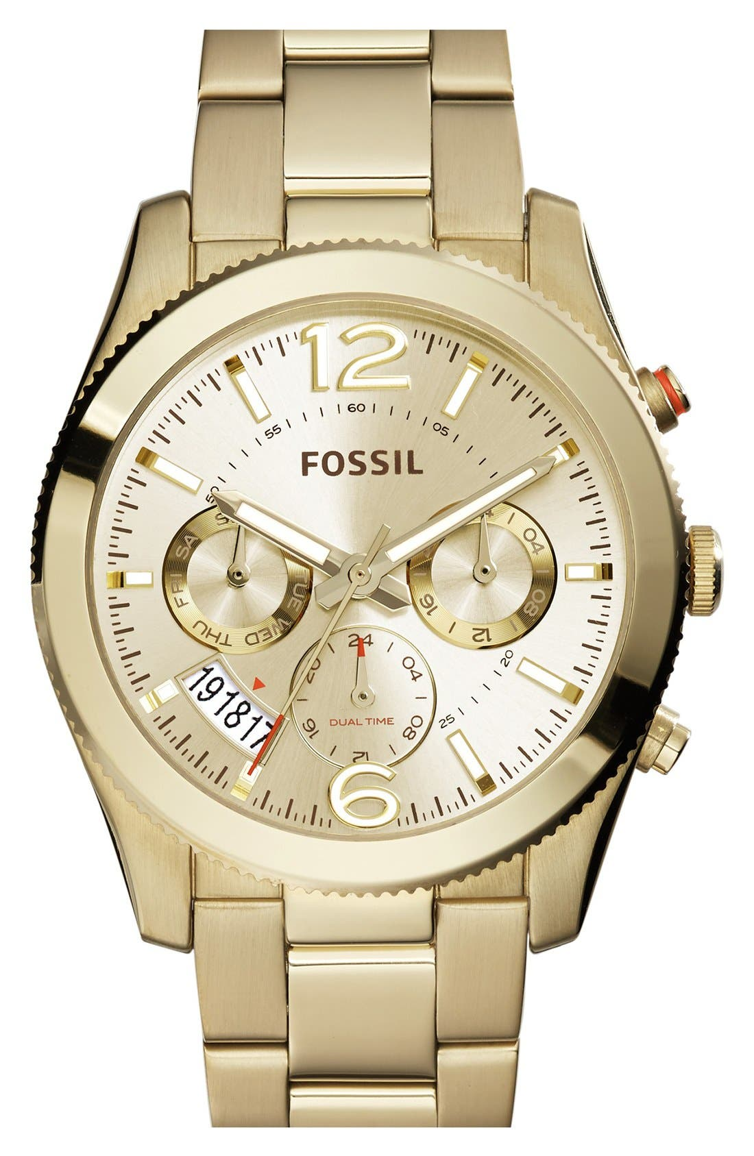 Main Image - Fossil 'Perfect Boyfriend' Multifunction Bracelet Watch, 40mm