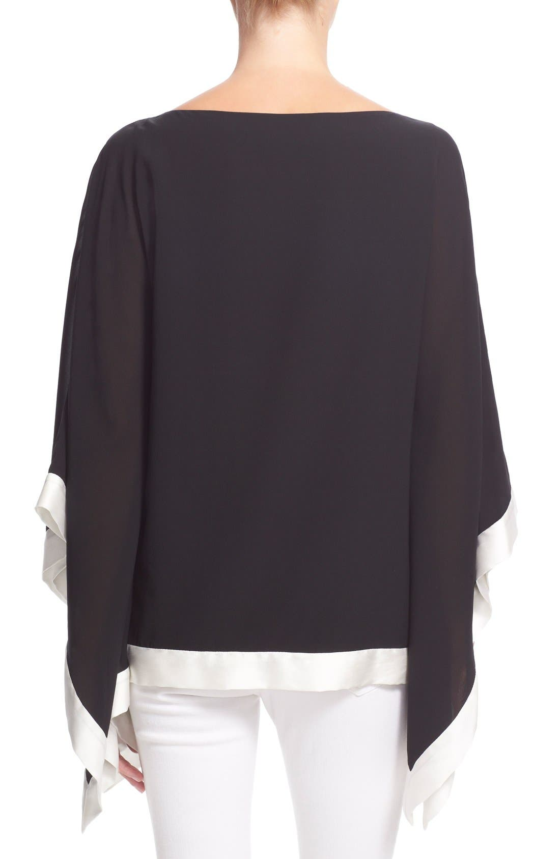 Alternate Image 2  - Alice + Olivia 'Chesney' Boatneck Stretch Silk Poncho