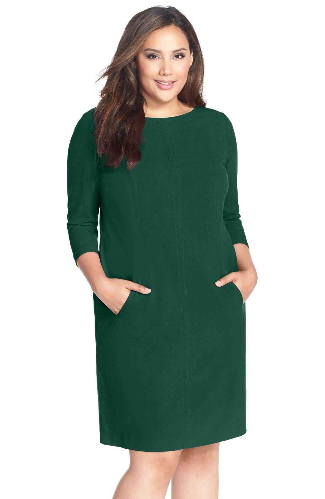 Alternate Image 1 Selected - Tahari by Arthur S. Levine Seamed A-Line Dress (Plus Size)