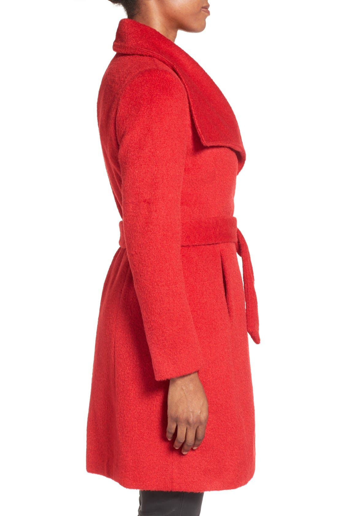 Alternate Image 3  - T Tahari 'Mia' Brushed Wool Blend Wrap Coat
