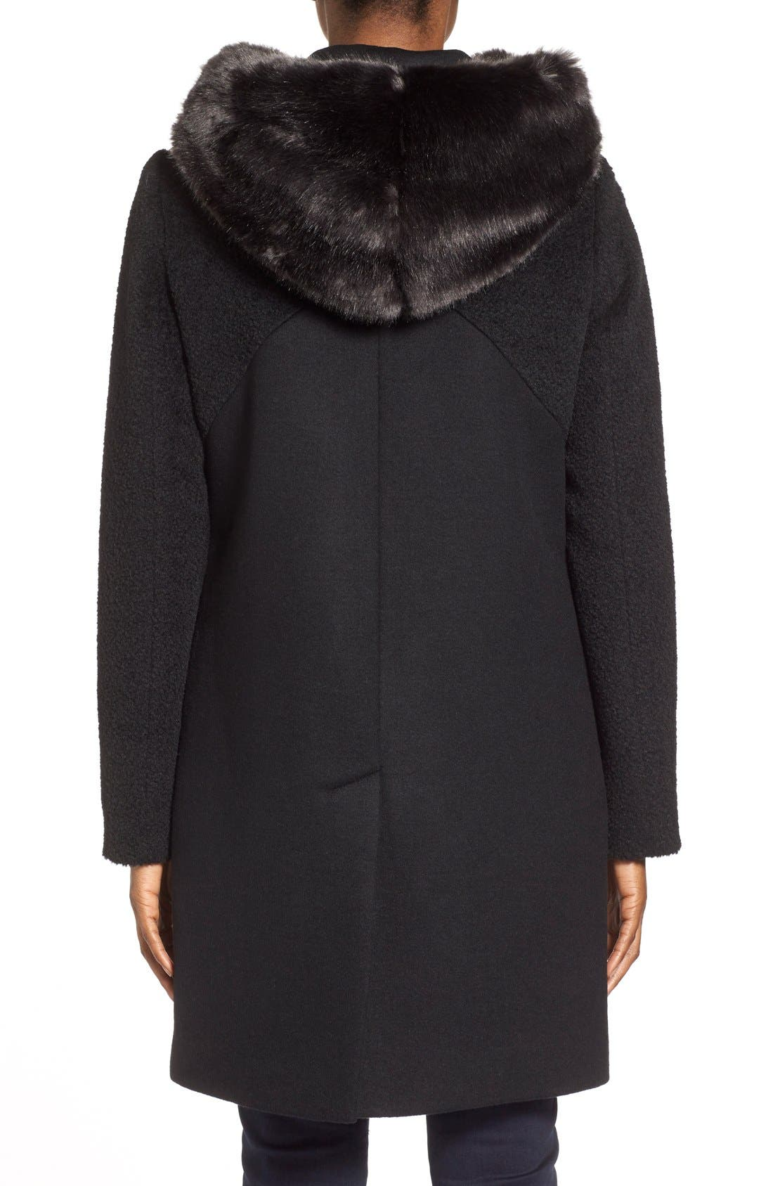 Alternate Image 2  - Dawn Levy 'Lara' Mixed Media Wool Blend Coat withFauxFur Hood