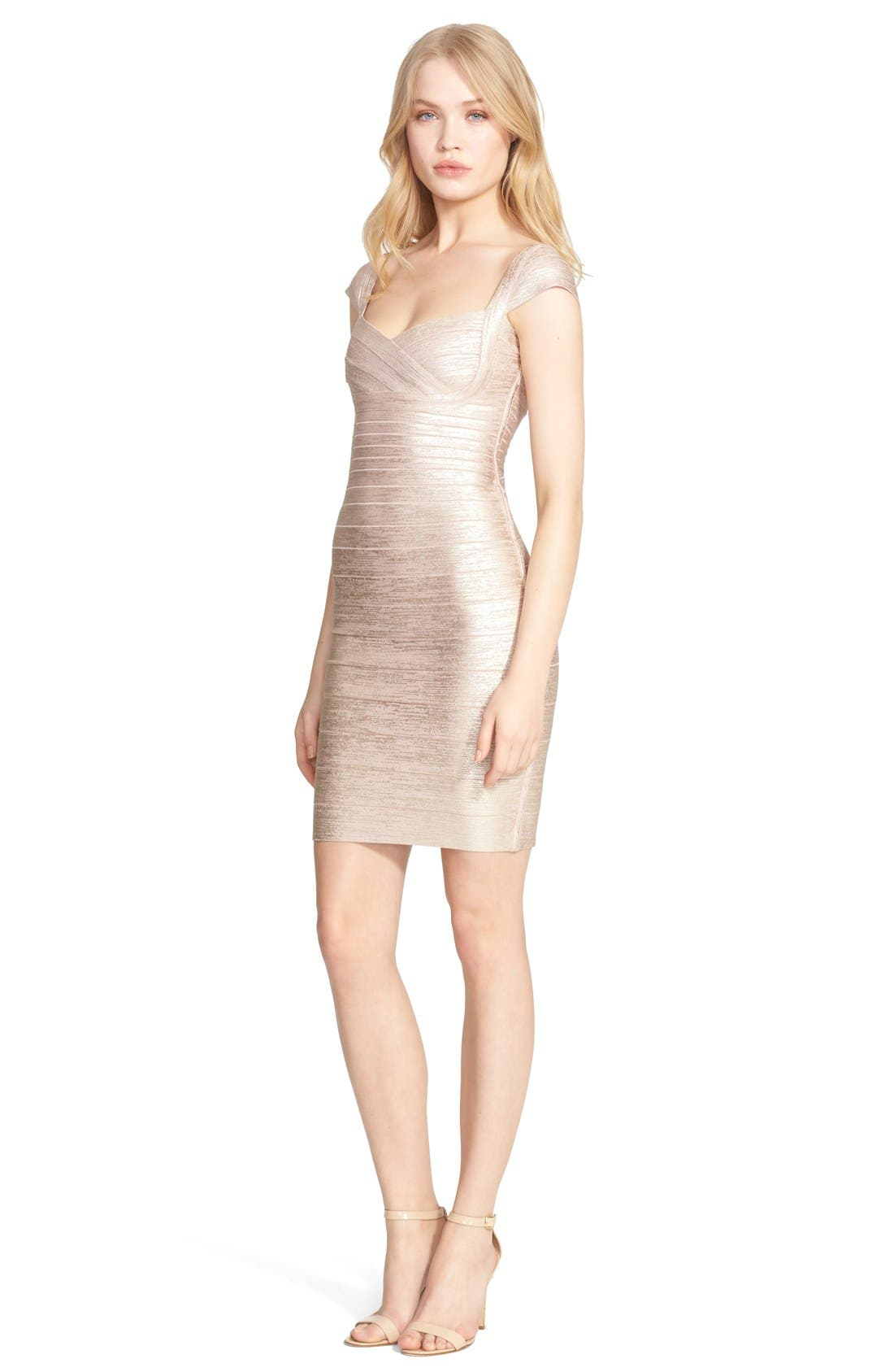 Main Image - Herve Leger Foil Body-Con Bandage Dress
