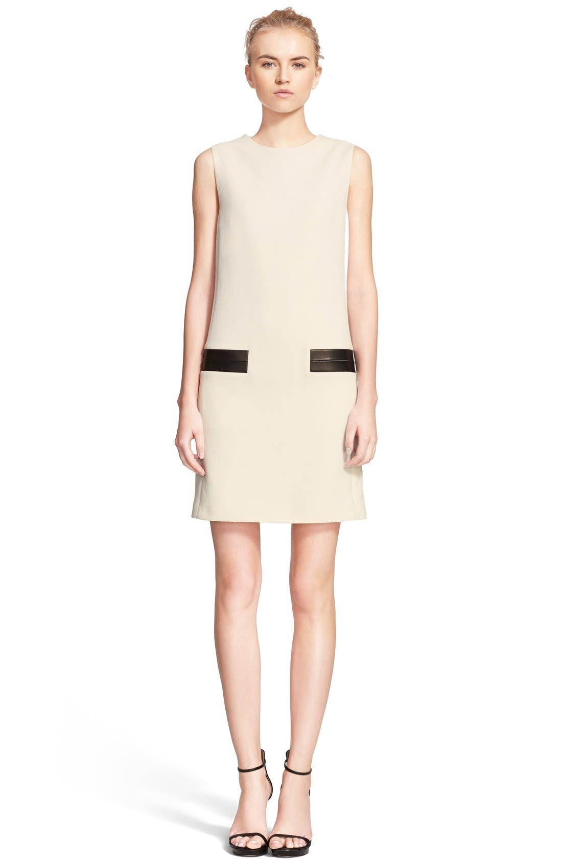 Alternate Image 1 Selected - Michael Kors Leather Trim Stretch Wool Shift Dress