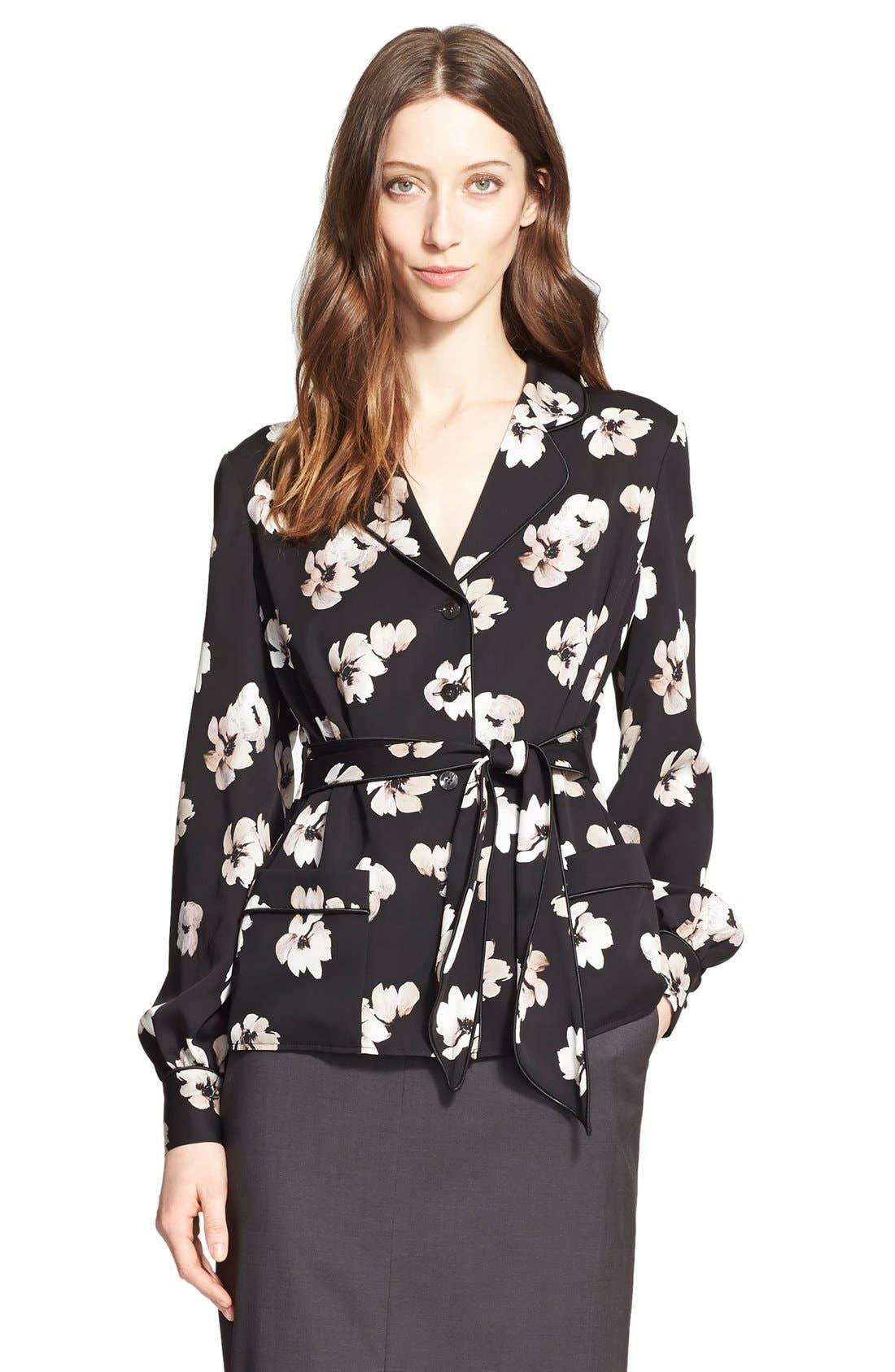 Main Image - Nordstrom Signature and Caroline Issa Floral Print Silk Twill Blazer