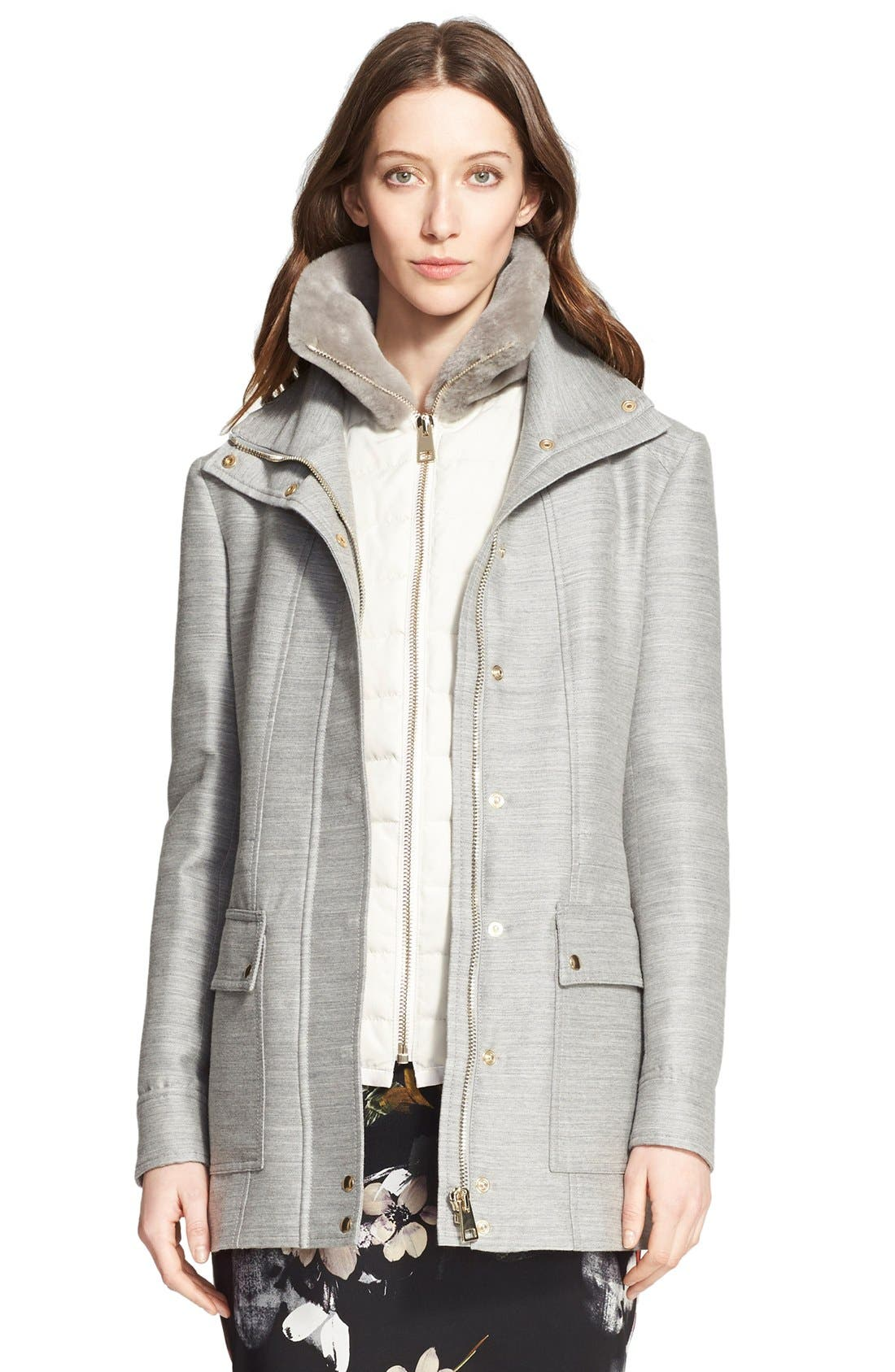 Alternate Image 1 Selected - Nordstrom Signature and Caroline Issa 2-in-1 Parka with Genuine Shearling Collar