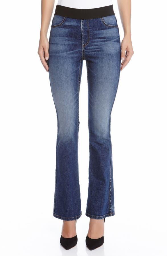 Karen Kane Pull-On Stretch Bootcut Jeans (Blue)   Nordstrom