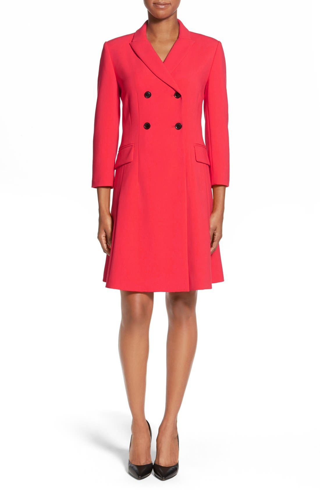 Main Image - Ellen Tracy Double Weave Coatdress (Regular & Petite)