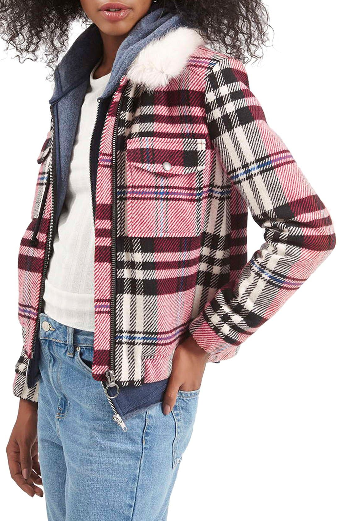 Main Image - Topshop Check Bomber with Faux Fur Collar