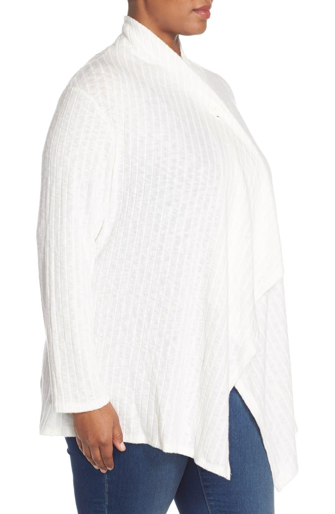 Alternate Image 3  - Bobeau Rib Knit One-Button Cardigan (Plus Size)