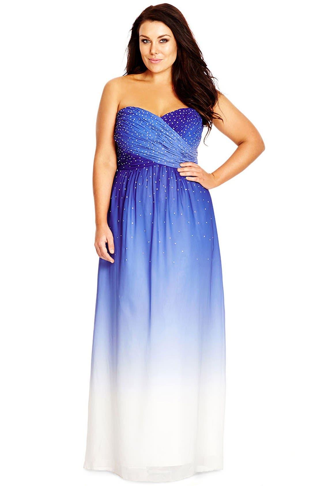 Alternate Image 3  - City Chic 'Enchanted' Embellished Strapless Ombré Maxi Dress (Plus Size)