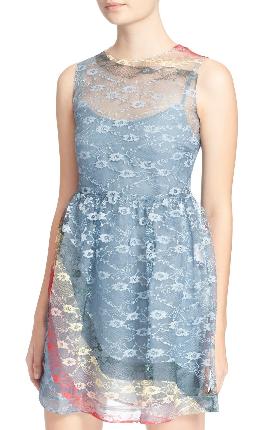 Alternate Image 4  - RED Valentino Rainbow Lace Fit & Flare Dress