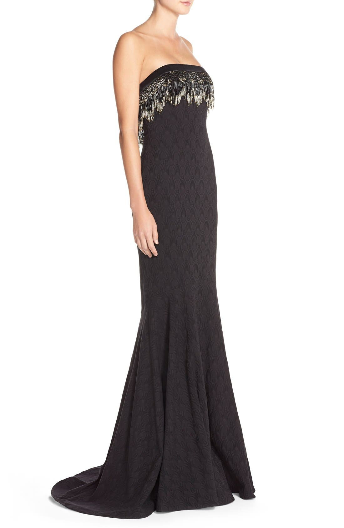 Alternate Image 3  - Badgley Mischka Bead Fringe Jacquard Mermaid Gown