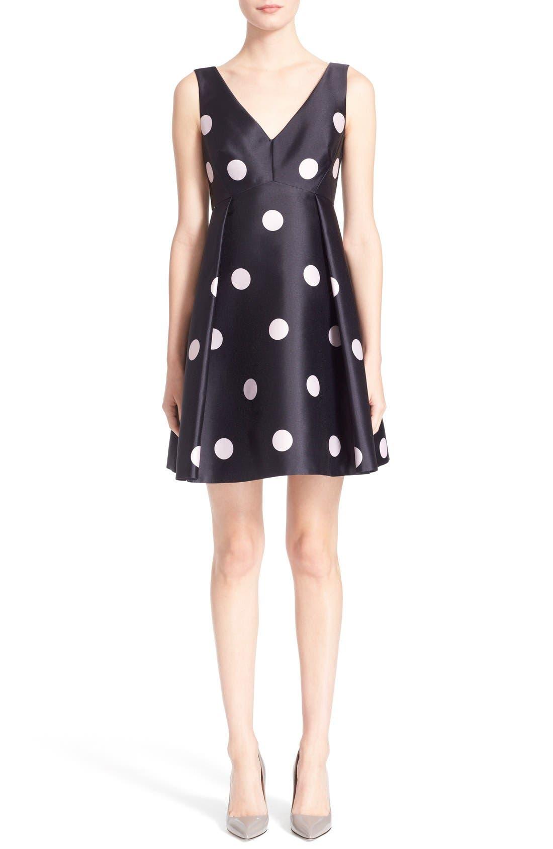 Main Image - kate spade new york v-neck polka dot fit & flare dress