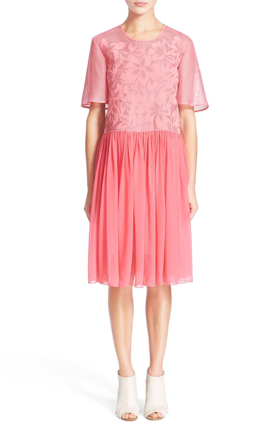Alternate Image 1 Selected - Rebecca Taylor Floral Appliqué Dress