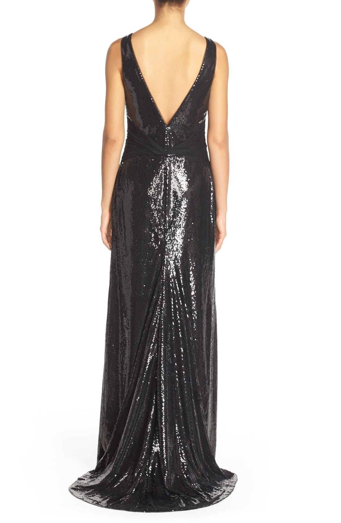 Alternate Image 2  - Vera Wang Mesh Inset Sequin Gown