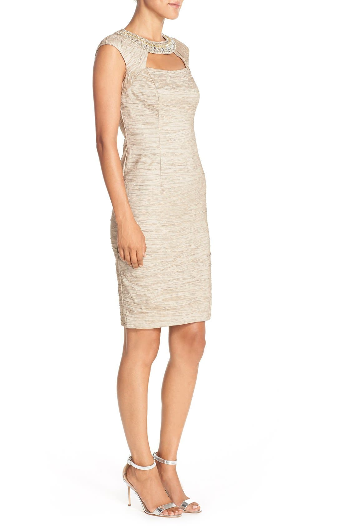 Alternate Image 3  - Eliza J Embellished Crushed Taffeta Sheath Dress