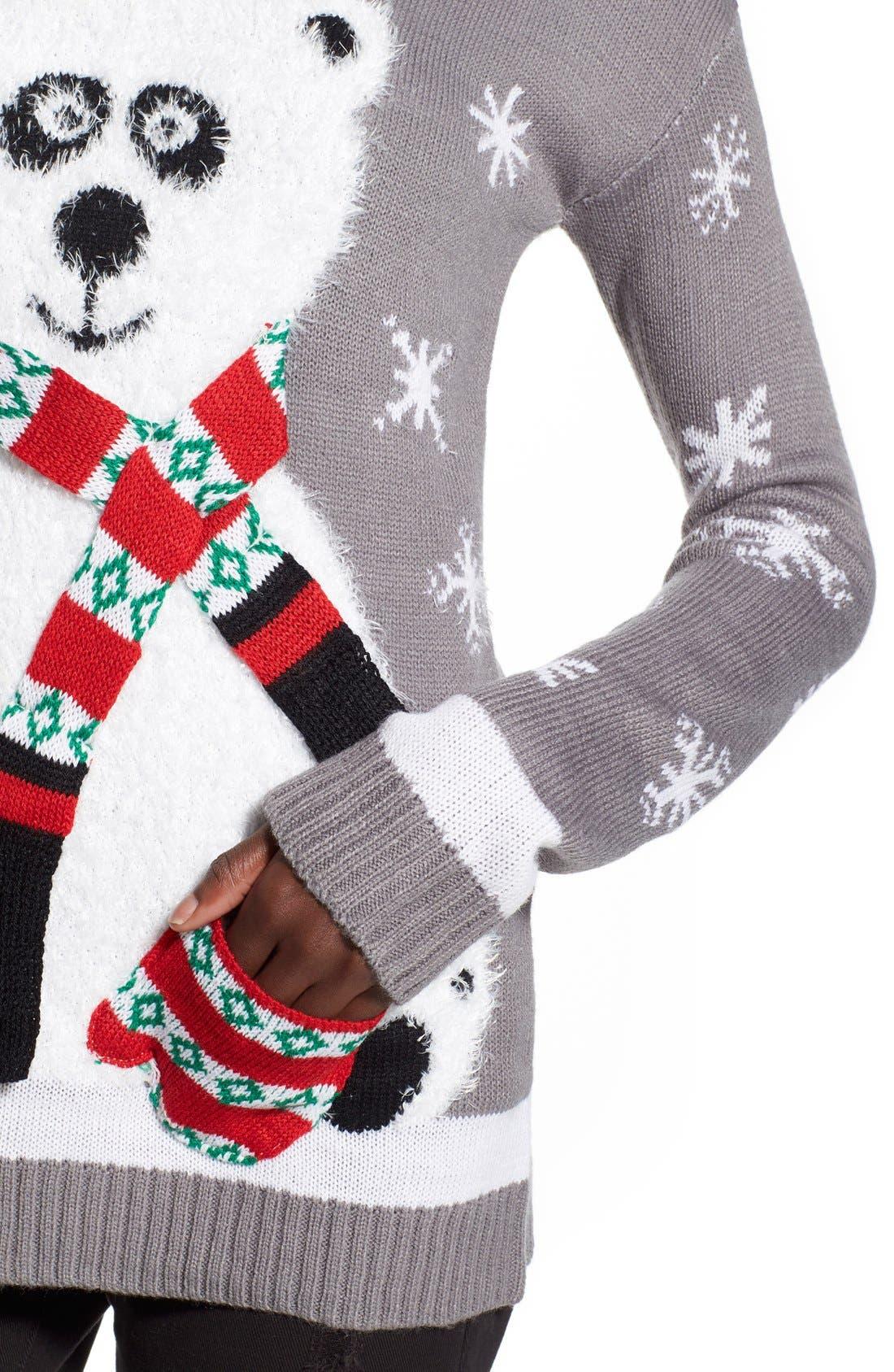 Alternate Image 4  - Derek Heart Polar Bear Christmas Sweater
