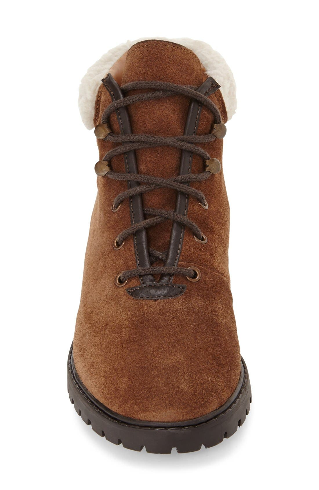 Alternate Image 3  - Topshop Lace-Up Ankle Boots with Faux Fur Trim (Women)